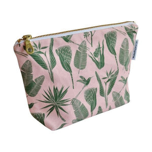 Love Supreme Botanicals Green on Pink Makeup Pouch