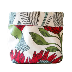 Love Supreme Cotton Protea White Reversible Fabric Pot
