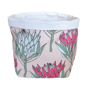 Love Supreme Cotton Pink Protea Fabric Pot
