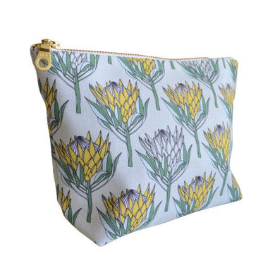 Love Supreme Protea Yellow On Mint Makeup Pouch