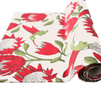 Love Supreme White Protea Cotton Table Runner