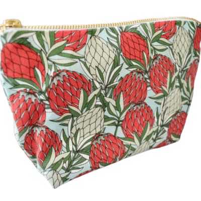 Love Supreme Protea Leaves Red on Blue Makeup Pouch