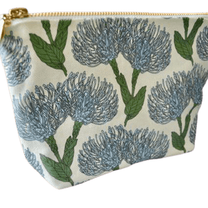 Love Supreme Pin Cushion Protea Blue on Mint Makeup Pouch