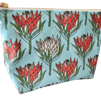 Love Supreme King Protea Red on Blue Makeup Pouch