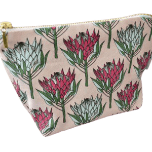 Love Supreme King Protea Pink on Pink Makeup Pouch