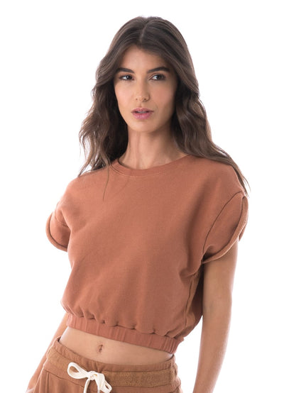 Maaji Blissful Caramel Cap Sleeve Top - Maaji Colombia