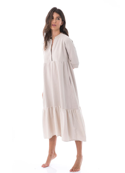 Maaji Swirl Sand Long Sleeve Long Dress - Maaji Colombia