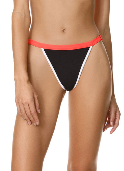 Maaji Ebony Black Islandia High Rise/High Leg Bikini Bottom - Maaji Colombia