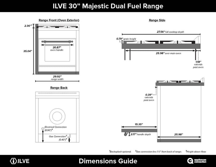 "ILVE 30"" Majestic II Series Propane Gas Burner and Electric Oven Range in Midnight Blue with Chrome Trim, UM30DNE3MBCLP"