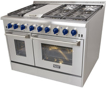 "Kucht Professional 48"" Natural Gas Burner/Electric Oven 6.7 cu ft. Range with Royal Blue Knobs, KRD486F-B"