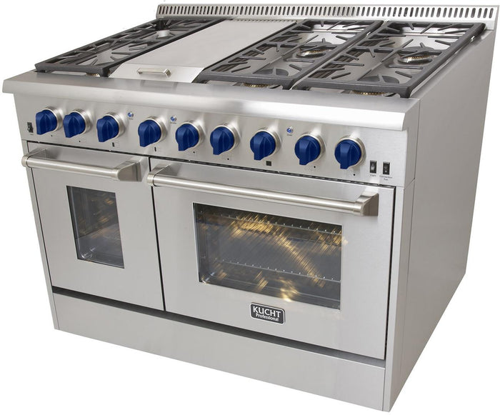 "Kucht Professional 48"" Propane Gas Burner/Electric Oven 6.7 cu ft. Range with Royal Blue Knobs, KRD486F/LP-B"