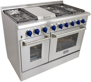 "Kucht Professional 48"" Propane Gas Burner/Electric Oven 6.7 cu ft. Range with Royal Blue Knobs, KRD486F/LP-B test"