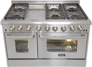 "Kucht Professional 48"" Propane Gas Burner/Electric Oven 6.7 cu ft. Range with Silver Knobs, KRD486F/LP-S test"