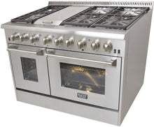 "Kucht Professional 48"" Natural Gas Burner/Electric Oven 6.7 cu ft. Range with Silver Knobs, KRD486F-S"