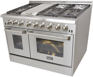 "Kucht Professional 48"" Natural Gas Burner/Electric Oven 6.7 cu ft. Range with Silver Knobs, KRD486F-S test"