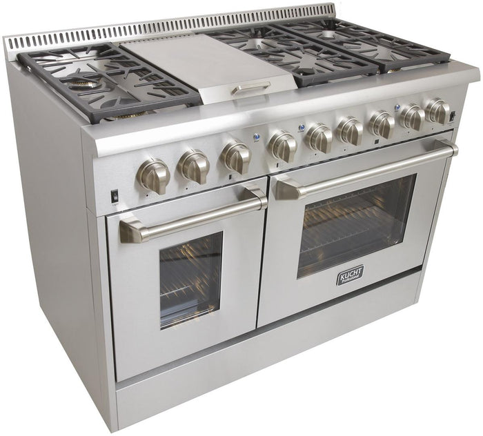 "Kucht Professional 48"" Propane Gas Burner/Electric Oven 6.7 cu ft. Range with Silver Knobs, KRD486F/LP-S"