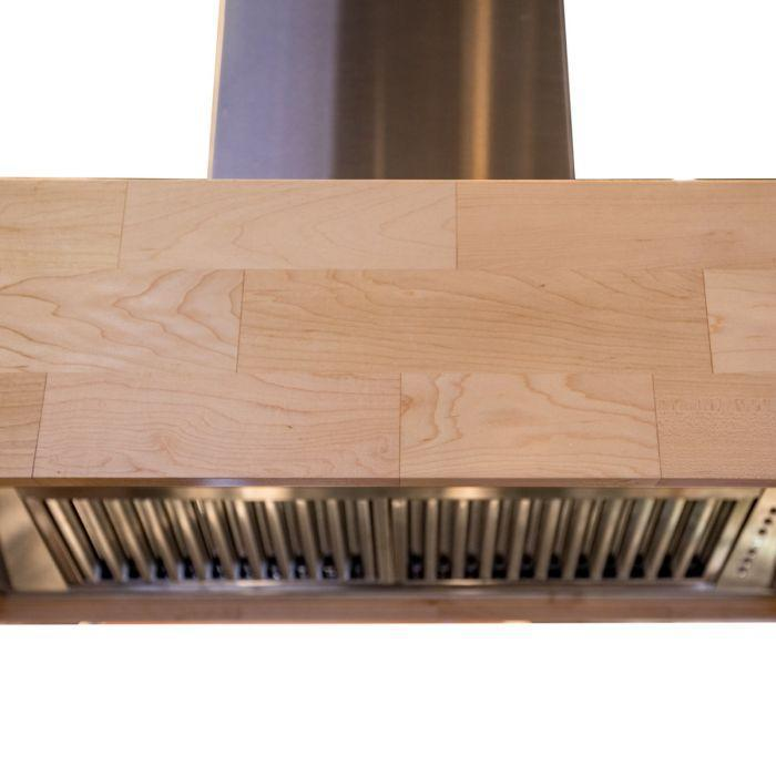 "ZLINE 42"" Designer Series Butcher Block Wooden Island Mount Range Hood in Maple, 681iM-42"