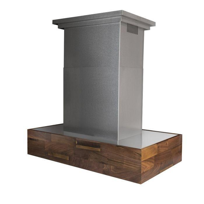 "ZLINE 48"" Designer Series Wooden Island Mount Range Hood in Butcher Block, 681iW-48"