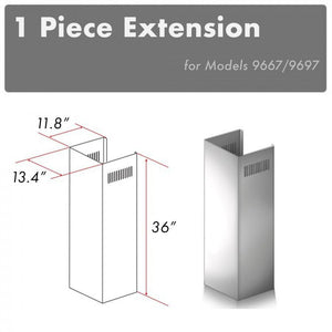 ZLINE 1 Piece Chimney Extension for 10ft. Ceilings (1PCEXT-9667/9697)