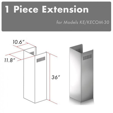 ZLINE 1 Piece Chimney Extension for 10ft. Ceilings (1PCEXT-KE/KECOM-30)
