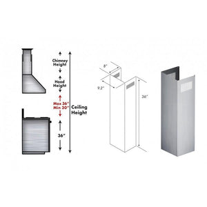 ZLINE 1 Piece Chimney Extension for 10ft Ceiling (1PCEXT-KB/KL2/KL3) test