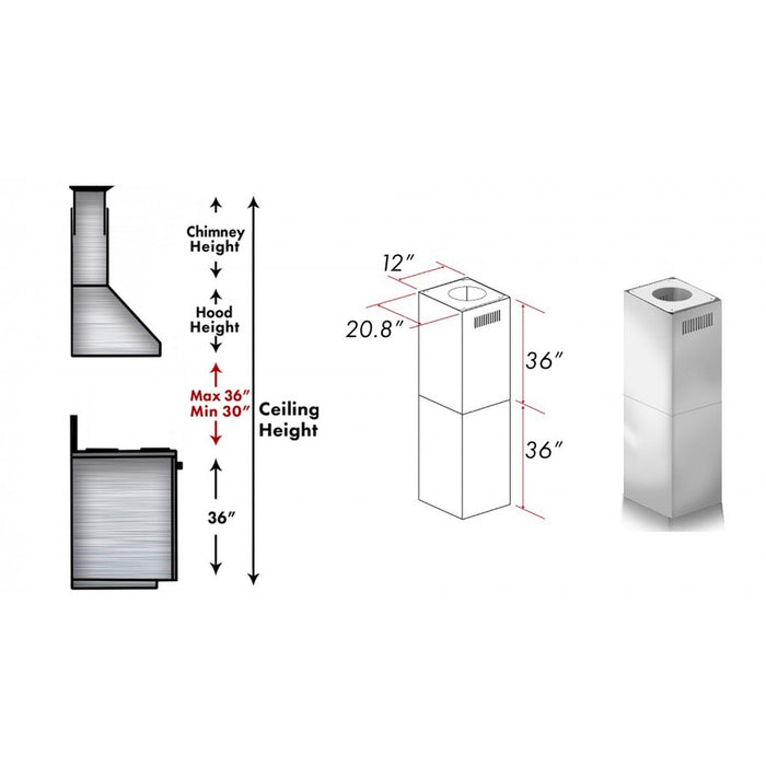ZLINE 2 Piece Outdoor Chimney Extension for 12ft Ceiling (2PCEXT-697i/KECOMi-304)