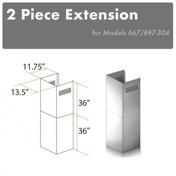 ZLINE 2 Piece Chimney Extension for 12ft Ceiling (2PCEXT-667/697-304)