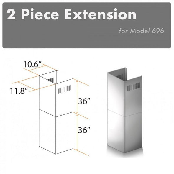 ZLINE 2 Piece Chimney Extension for 12ft Ceiling (2PCEXT-696)