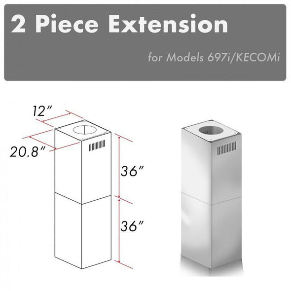 ZLINE 2 Piece Chimney Extension for 10ft-12ft Ceiling (2PCEXT-697i/KECOMi)