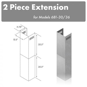 "ZLINE 71"" Chimney Extension for Ceilings up to 12 ft, 2PCEXT-681-30/36 test"