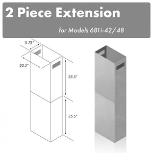 "ZLINE 71"" Chimney Extension for Ceilings up to 12 ft, 2PCEXT-681i-42/48 test"