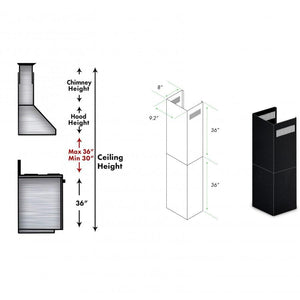 ZLINE 2-36 in. Chimney Extensions for 10 ft. to 12 ft. Ceilings in Black Stainless (2PCEXT-BSKBN) test