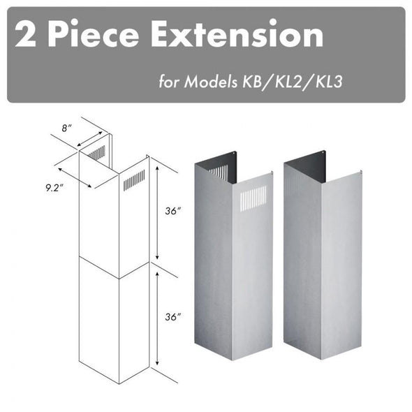 ZLINE 2 Piece Chimney Extensions for 12ft Ceiling (2PCEXT-KB/KL2/KL3)