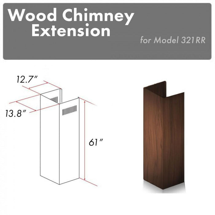 "ZLINE 61"" Wooden Chimney Extension for Ceilings up to 12.5 ft, 321RR-E"