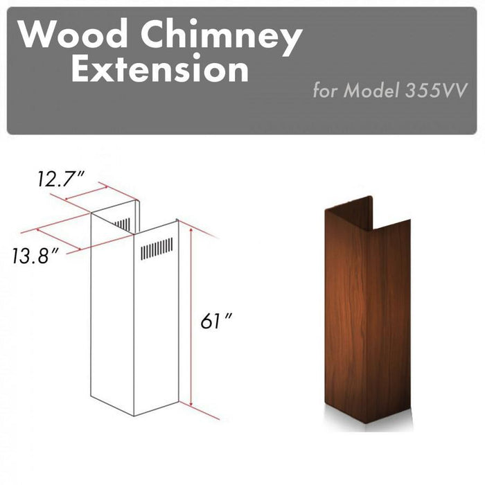 "ZLINE 61"" Wooden Chimney Extension for Ceilings up to 12.5 ft, 355VV-E"
