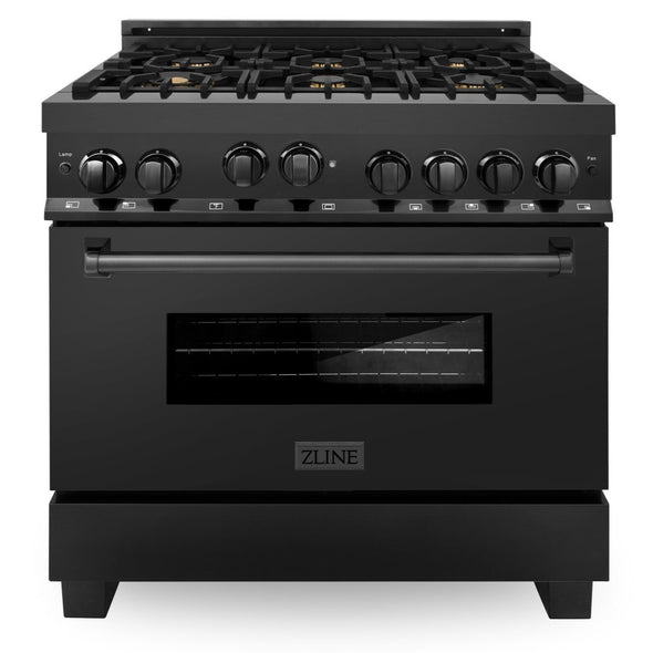 ZLINE 36 in. Professional 4.6 cu. ft. 6 Gas on Gas Range in Black Stainless Steel with Brass Burners, RGB-BR-36