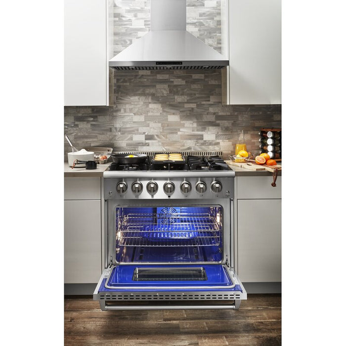 "Thor Kitchen 36"" Natural Gas Burner/Electric Oven Range in Stainless Steel, HRD3606U"