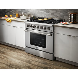 "Thor Kitchen 36"" Propane Gas Burner/Electric Oven Range in Stainless Steel, HRD3606ULP"