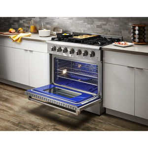 "Thor Kitchen 36"" Natural Gas Burner/Electric Oven Range in Stainless Steel, HRD3606U test"