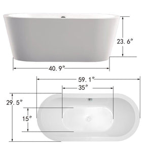 "Vanity Art 59"" x 29.5"" Freestanding Soaking Bathtub, VA6812-S test"