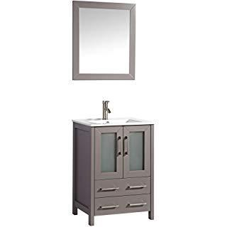 "Vanity Art 48"" Single Sink Vanity Cabinet with Ceramic Sink & Mirror - Grey, VA3024-48G"