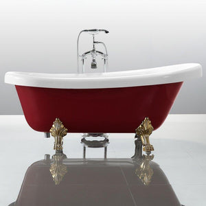 "Vanity Art 67"" x 31.5"" Freestanding Soaking Bathtub in Red and White, VA6311-RL"