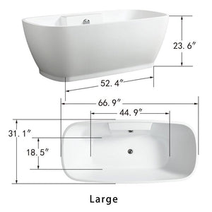 "Vanity Art 67"" x 31"" Freestanding Soaking Bathtub, VA6835-L test"