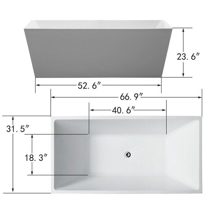 "Vanity Art 67"" x 31"" Freestanding Soaking Bathtub, VA6813-L"