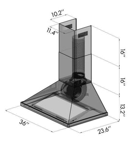 "ZLINE 36"" Convertible Vent Wall Mount Range Hood in Outdoor Approved Stainless Steel, 696-304-36 test"
