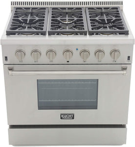 "Kucht Professional 36"" 5.2 cu ft. Propane Gas Range with Classic Silver Knobs, KRG3618U/LP-S test"