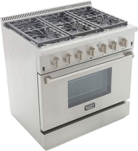 "Kucht Professional 36"" 5.2 cu ft. Natural Gas Range with Silver Knobs, KRG3618U-S"