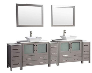 "Vanity Art 108"" Double Sink Vanity Cabinet with Ceramic Vessel Sink & Mirror - Grey, VA3136-108G"