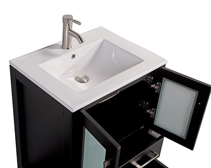 "Vanity Art 48"" Single Sink Vanity Cabinet with Ceramic Sink & Mirror - Espresso, VA3024-48E"