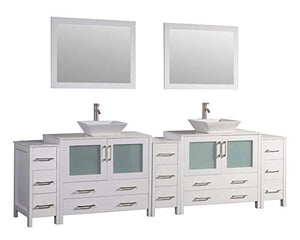 "Vanity Art 108"" Double Sink Vanity Cabinet with Ceramic Vessel Sink & Mirror - White, VA3136-108W test"
